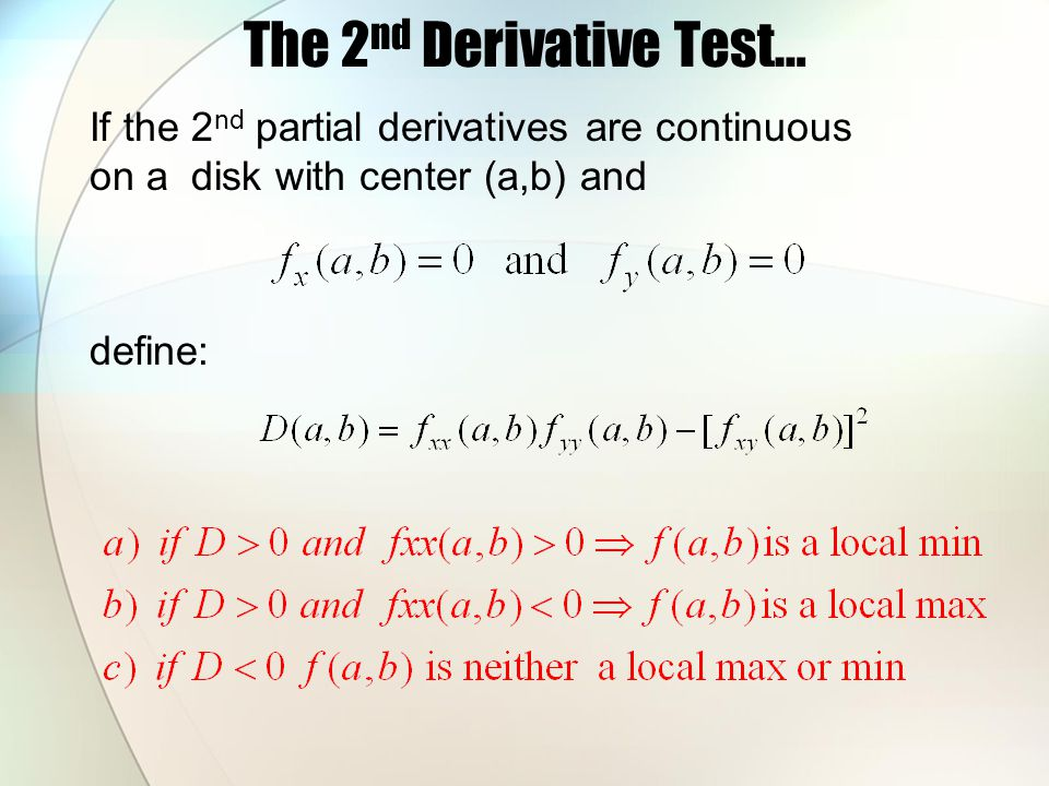The 2nd Derivative Test…