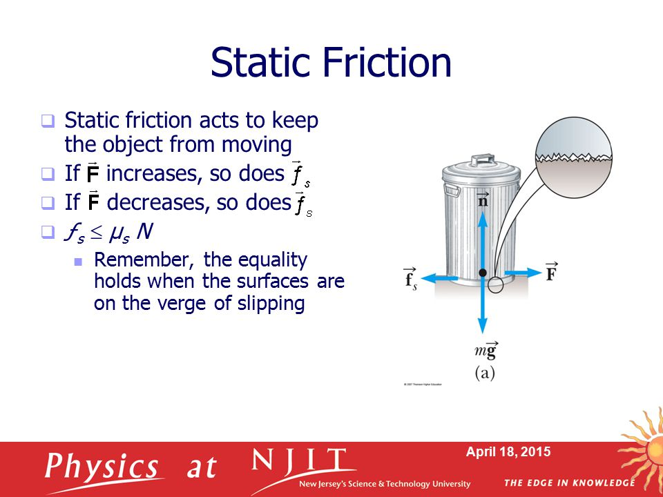 Static Friction Static friction acts to keep the object from moving