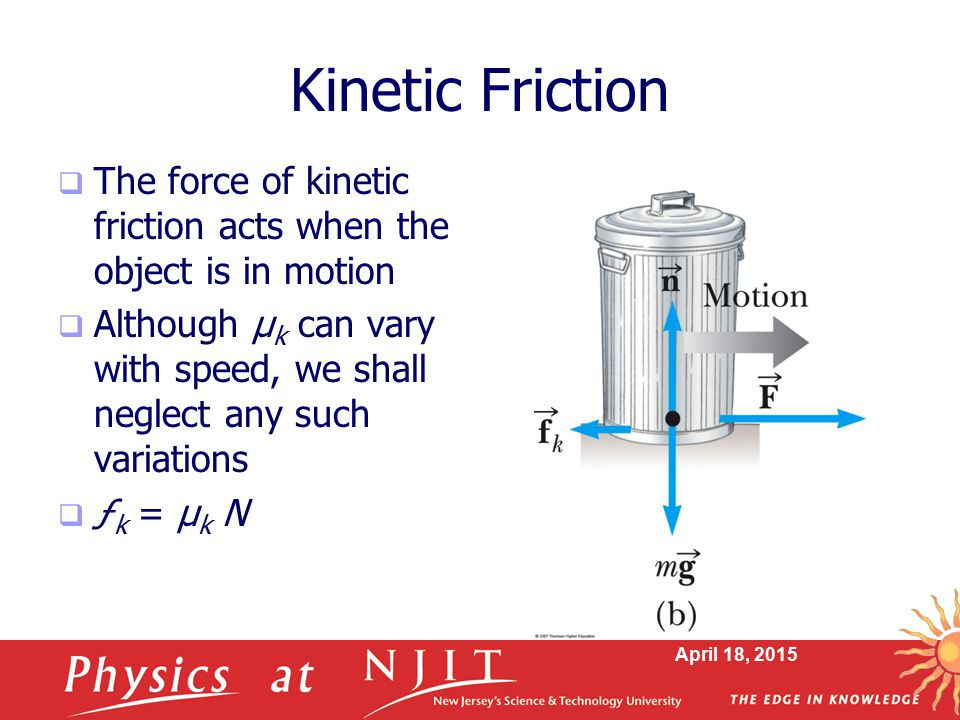 Kinetic Friction The force of kinetic friction acts when the object is in motion.