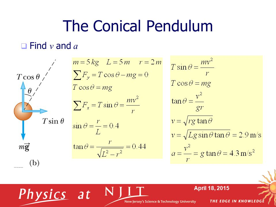 The Conical Pendulum Find v and a April 11, 2017