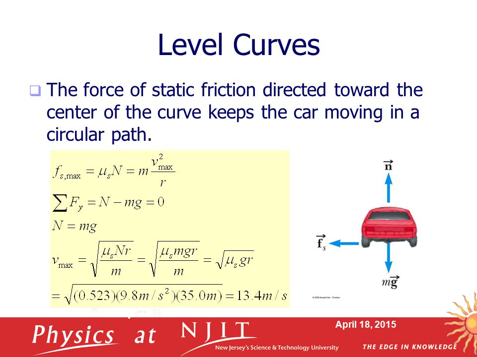 Level Curves The force of static friction directed toward the center of the curve keeps the car moving in a circular path.