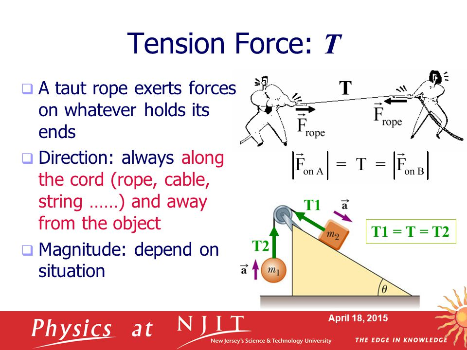 Tension Force: T A taut rope exerts forces on whatever holds its ends