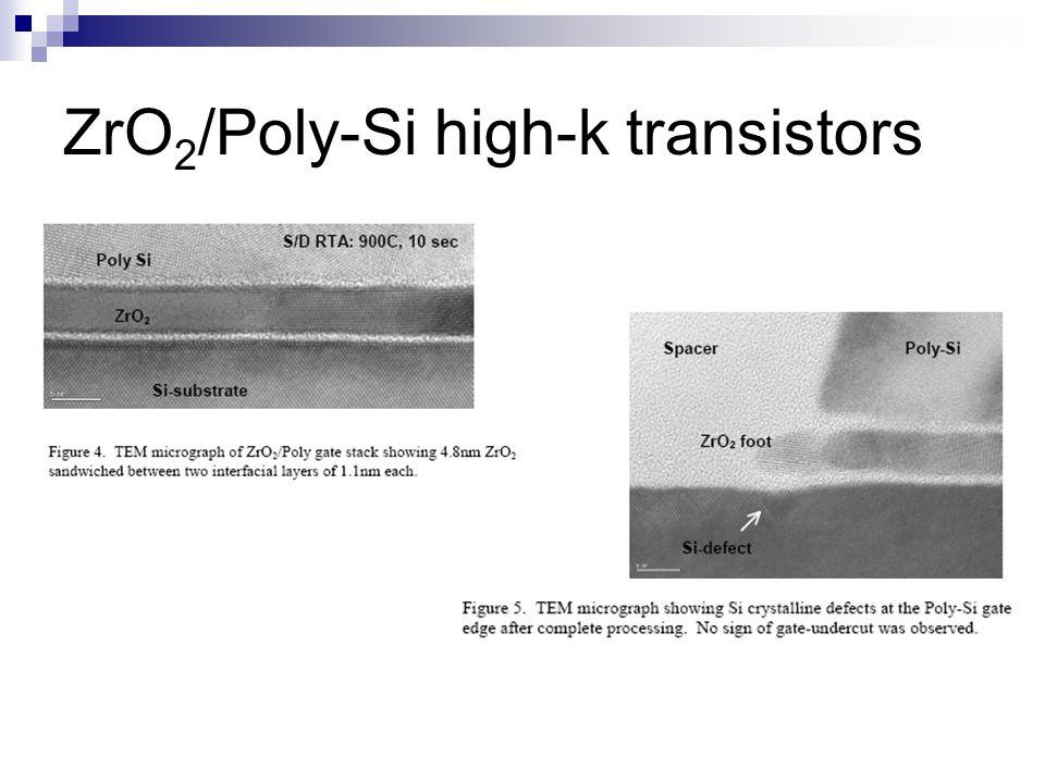 ZrO2/Poly-Si high-k transistors