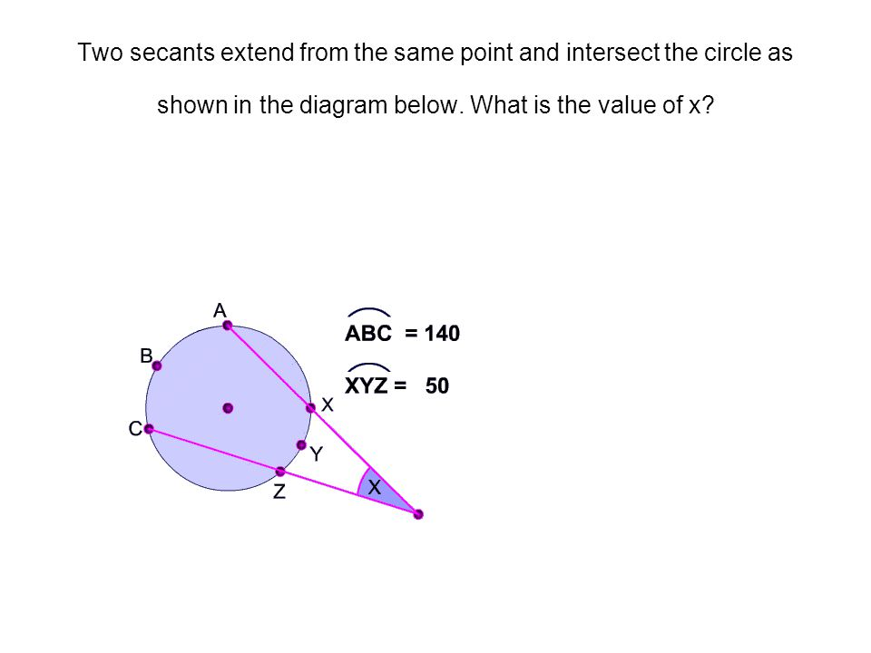 Two secants extend from the same point and intersect the circle as shown in the diagram below.