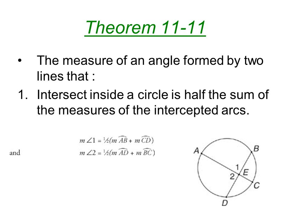 Theorem 11-11 The measure of an angle formed by two lines that :