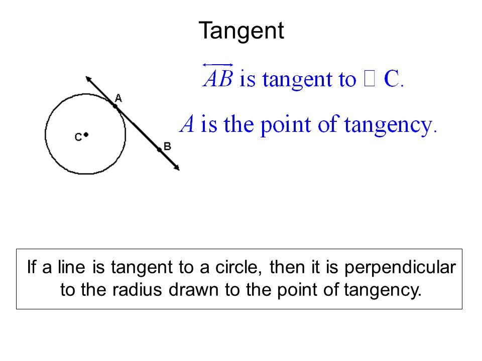 Tangent If a line is tangent to a circle, then it is perpendicular