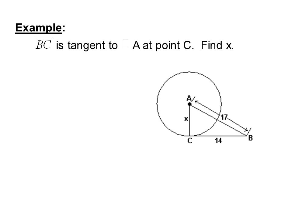 Example: is tangent to A at point C. Find x.