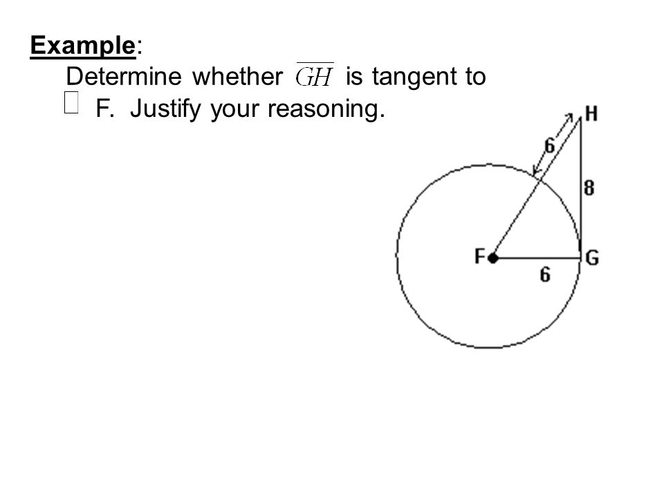 Example: Determine whether is tangent to F. Justify your reasoning.