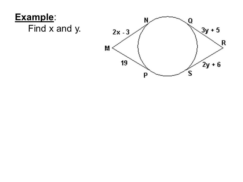 Example: Find x and y.