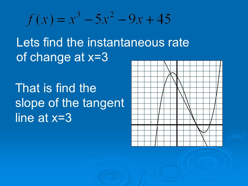 Lets find the instantaneous rate of change at x=3