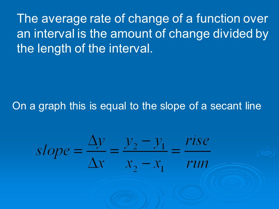 The average rate of change of a function over an interval is the amount of change divided by the length of the interval.
