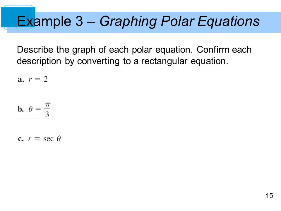 Example 3 – Graphing Polar Equations