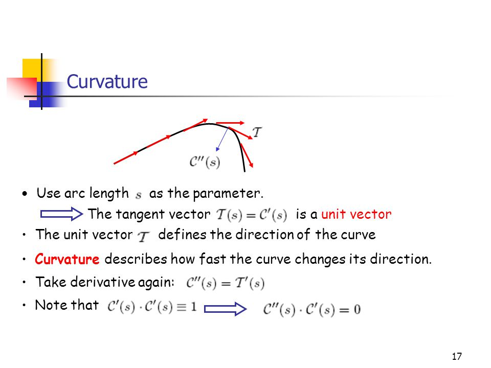 Curvature Use arc length as the parameter.