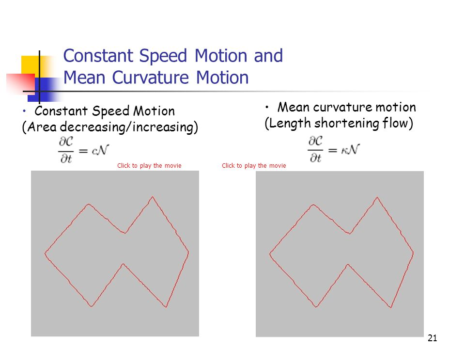 Constant Speed Motion and Mean Curvature Motion