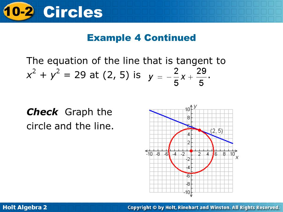 Example 4 Continued The equation of the line that is tangent to x2 + y2 = 29 at (2, 5) is .