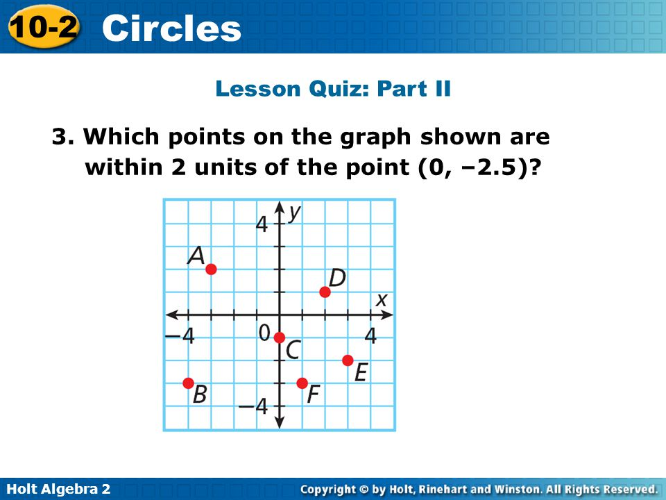 Lesson Quiz: Part II 3. Which points on the graph shown are within 2 units of the point (0, –2.5)