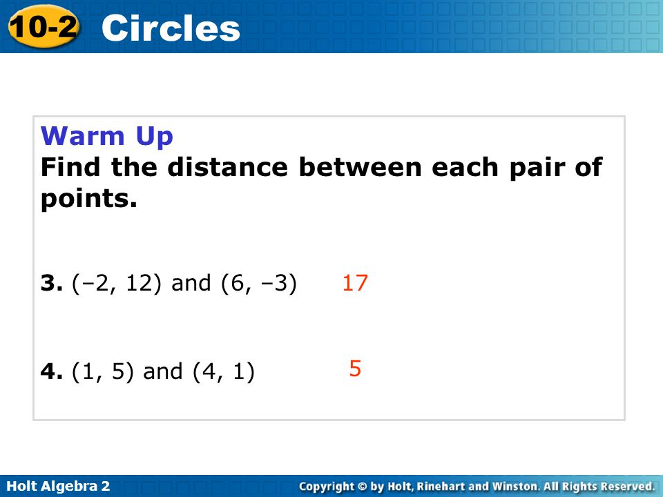 Find the distance between each pair of points.