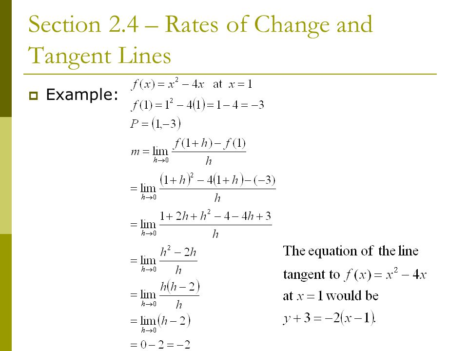 Section 2.4 – Rates of Change and Tangent Lines
