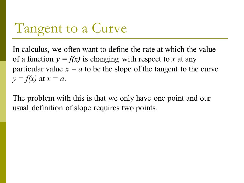 Tangent to a Curve
