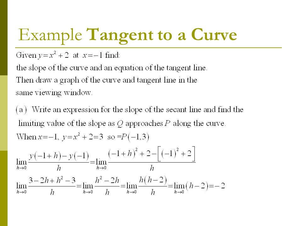 Example Tangent to a Curve