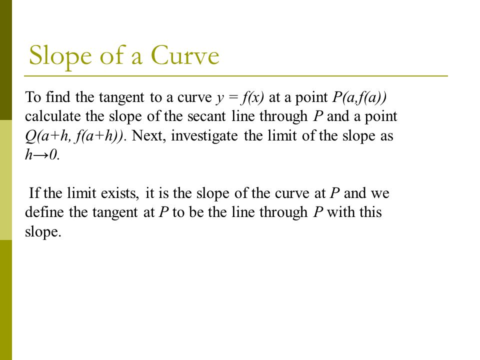 Slope of a Curve To find the tangent to a curve y = f(x) at a point P(a,f(a))