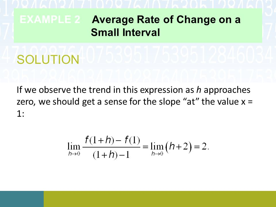 EXAMPLE 2 Average Rate of Change on a Small Interval