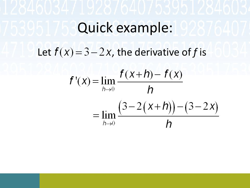 Let , the derivative of f is