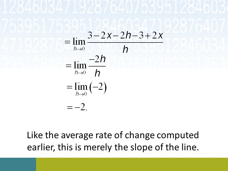 Like the average rate of change computed earlier, this is merely the slope of the line.