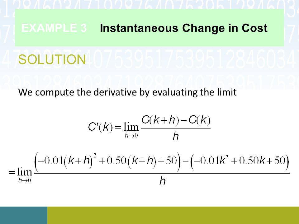 EXAMPLE 3 Instantaneous Change in Cost