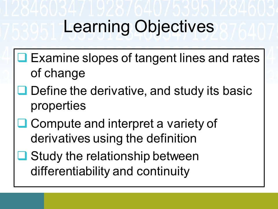 Learning Objectives Examine slopes of tangent lines and rates of change. Define the derivative, and study its basic properties.