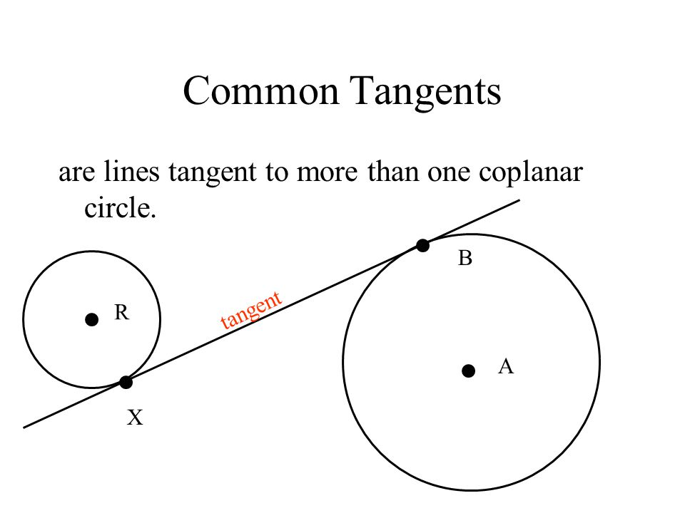 Common Tangents are lines tangent to more than one coplanar circle. B