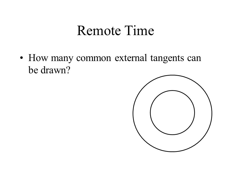 Remote Time How many common external tangents can be drawn