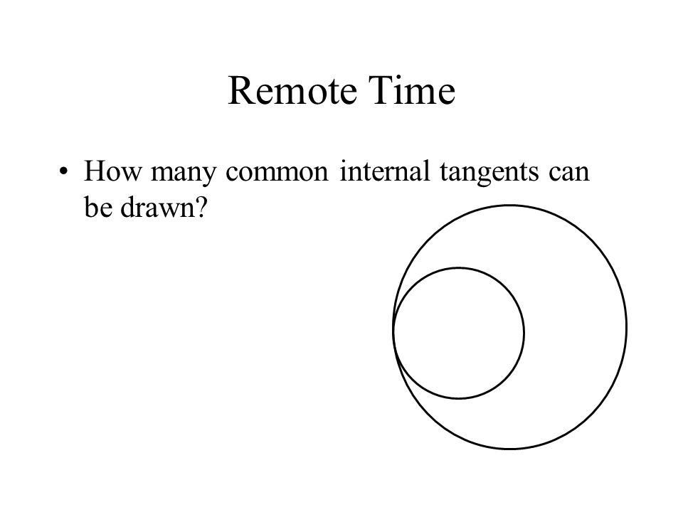 Remote Time How many common internal tangents can be drawn