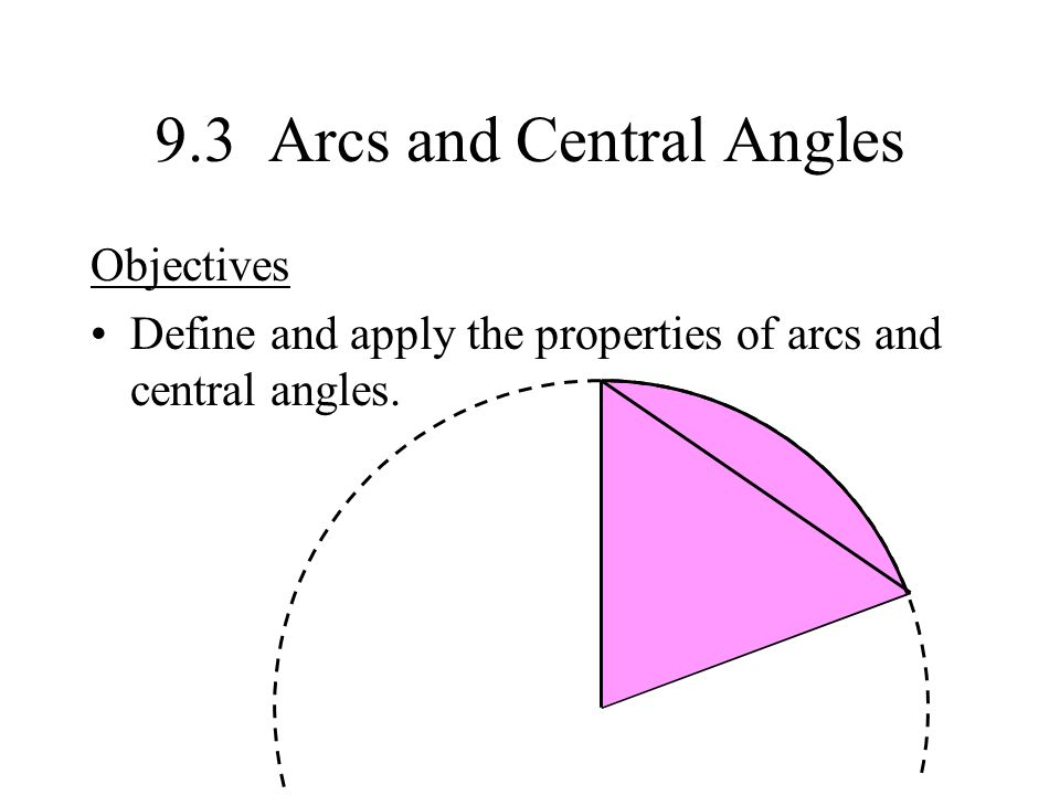 9.3 Arcs and Central Angles