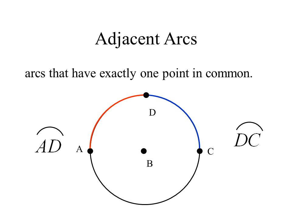 Adjacent Arcs arcs that have exactly one point in common. D A C B