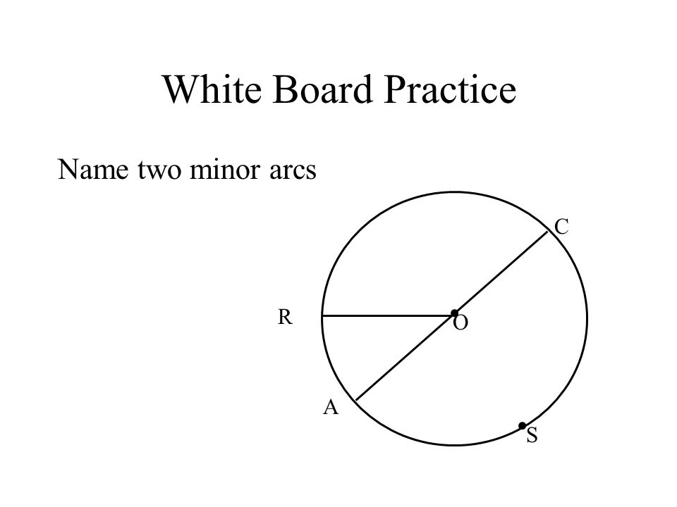White Board Practice Name two minor arcs C R O A S