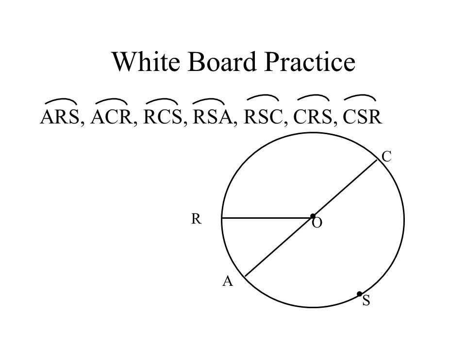 White Board Practice ARS, ACR, RCS, RSA, RSC, CRS, CSR C R O A S