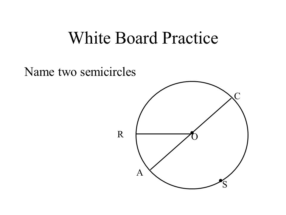 White Board Practice Name two semicircles C R O A S