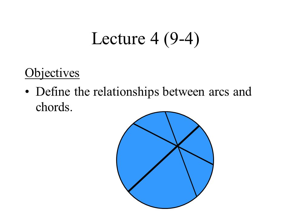 Lecture 4 (9-4) Objectives