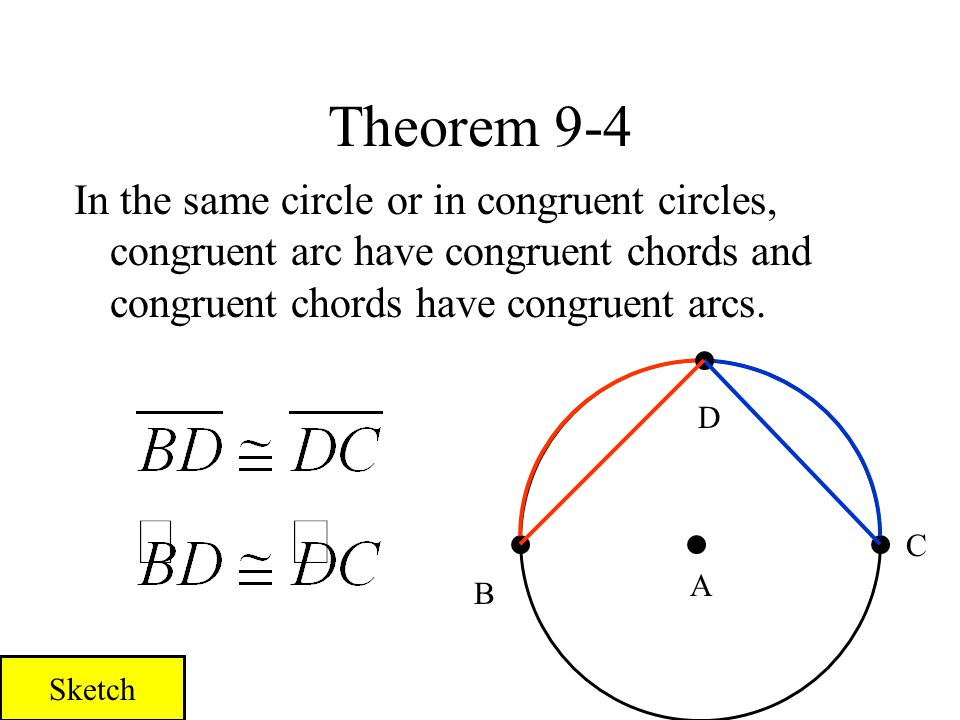 Theorem 9-4 In the same circle or in congruent circles, congruent arc have congruent chords and congruent chords have congruent arcs.