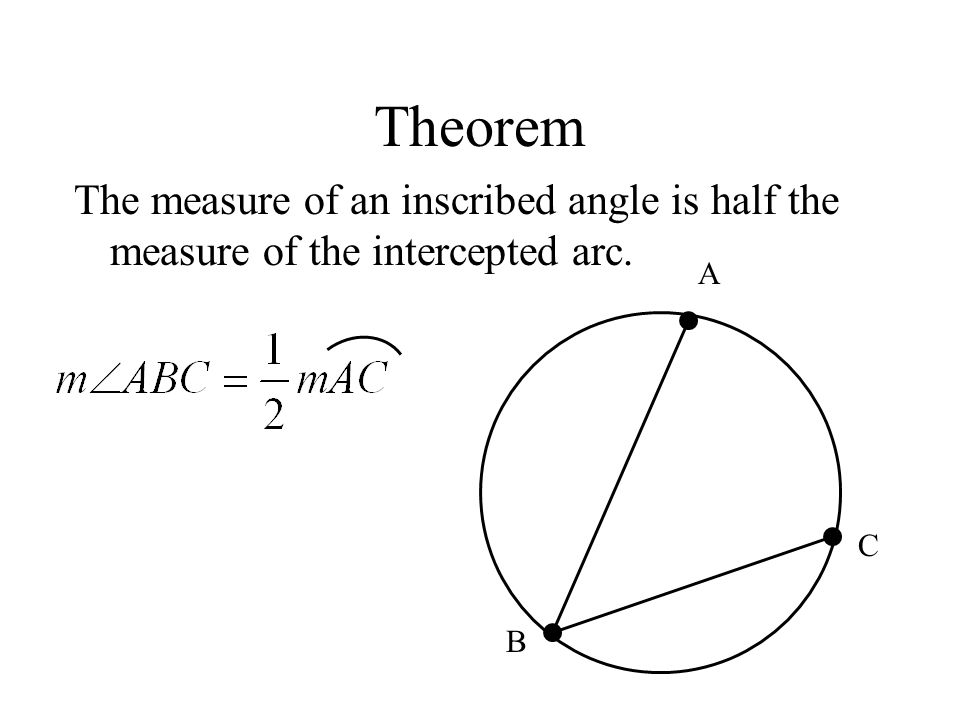 Theorem The measure of an inscribed angle is half the measure of the intercepted arc. A C B