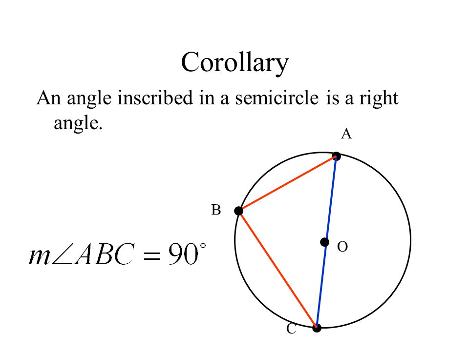 Corollary An angle inscribed in a semicircle is a right angle. A B O C