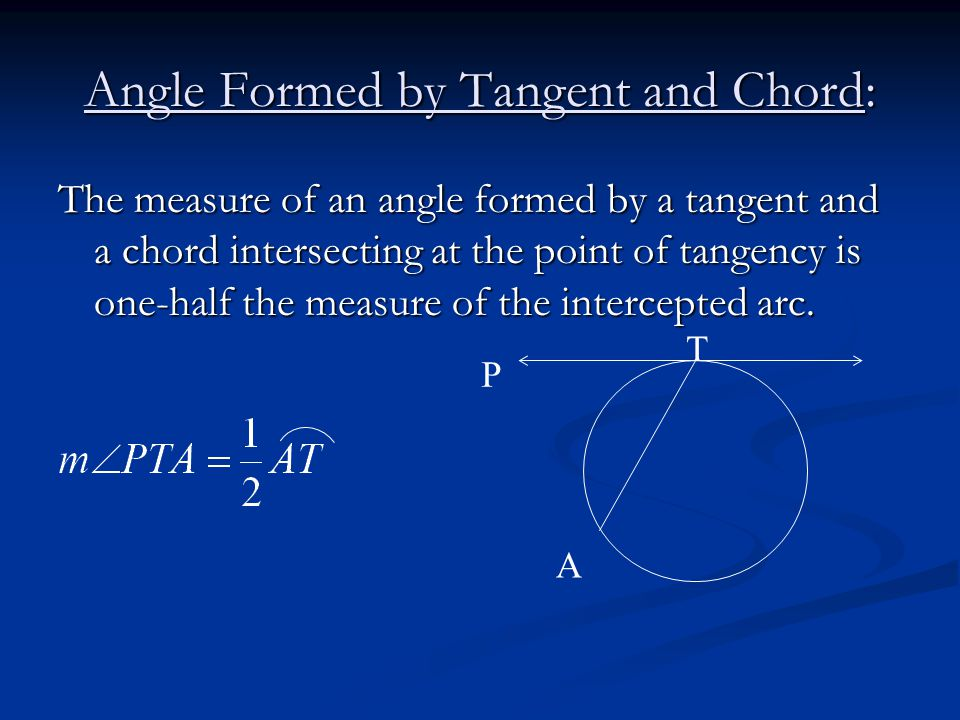 Angle Formed by Tangent and Chord: