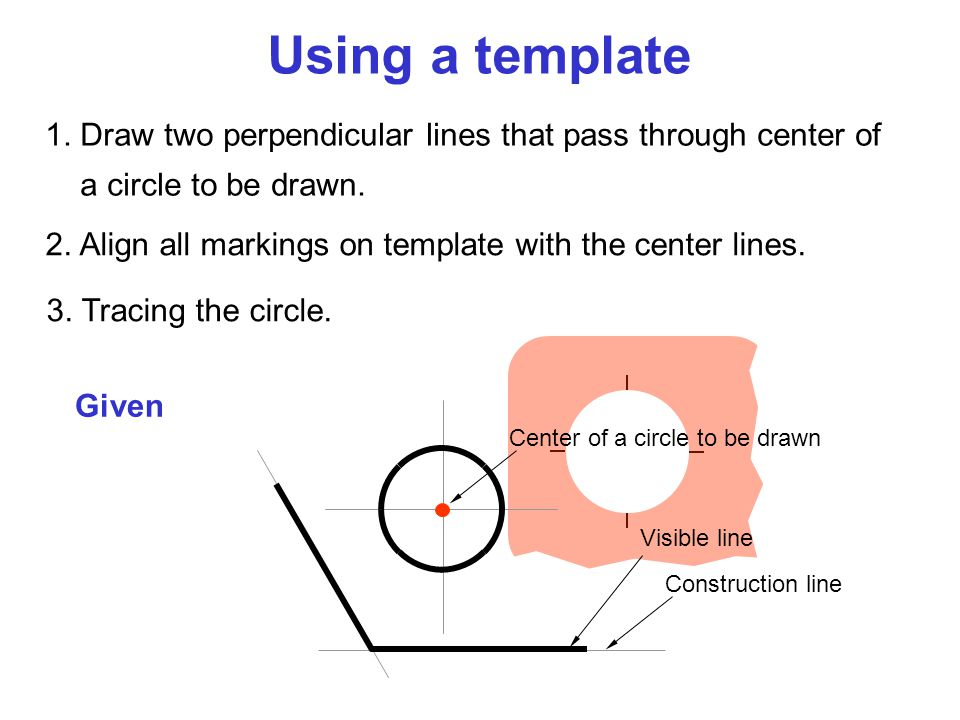 Using a template 1. Draw two perpendicular lines that pass through center of a circle to be drawn.