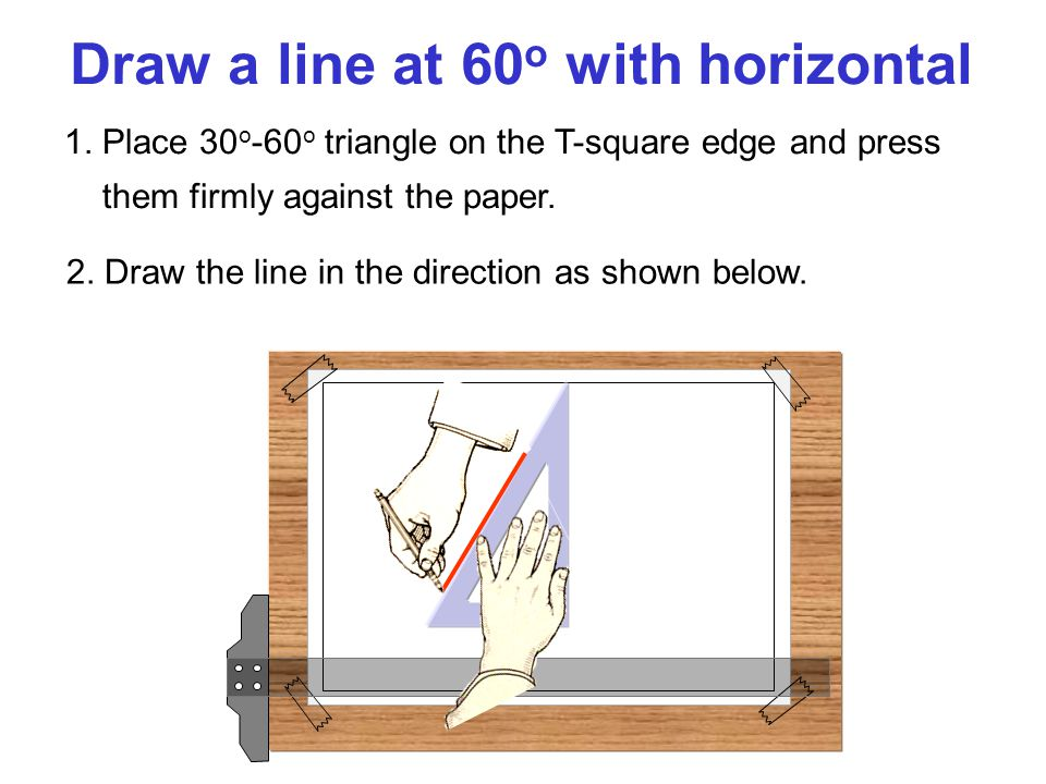Draw a line at 60o with horizontal
