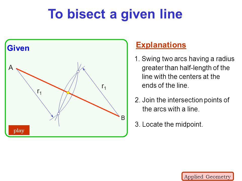 To bisect a given line Explanations Given