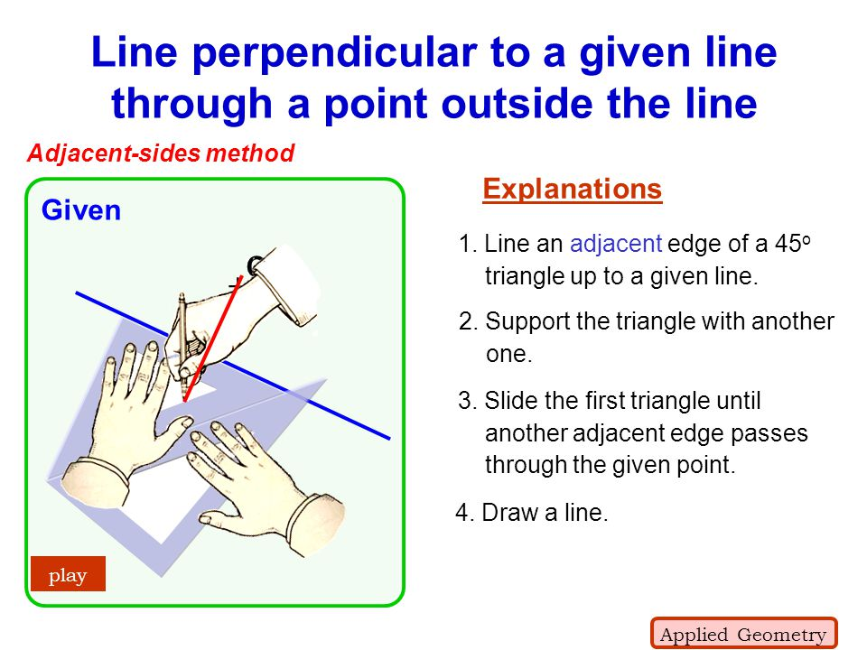 Line perpendicular to a given line through a point outside the line