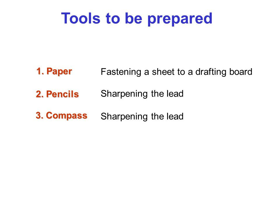 Tools to be prepared 1. Paper Fastening a sheet to a drafting board