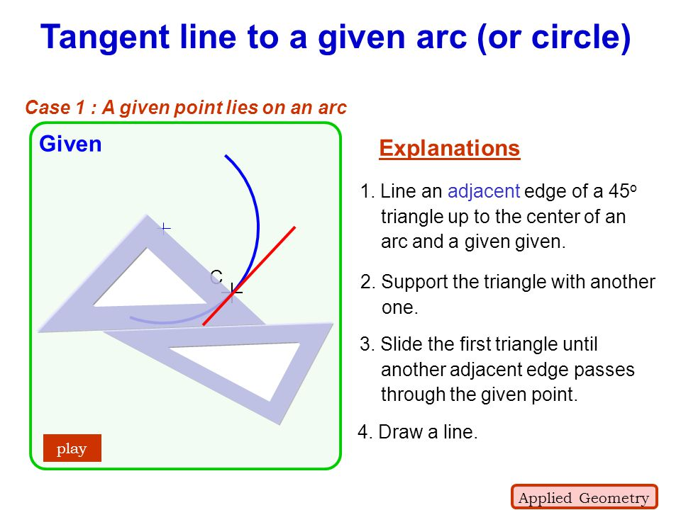 Tangent line to a given arc (or circle)