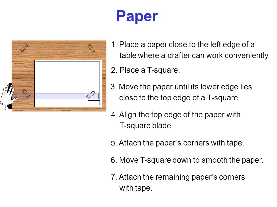 Paper 1. Place a paper close to the left edge of a
